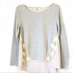 Ya LA • Grey Knit Lace Chiffon Long Sleeve Top